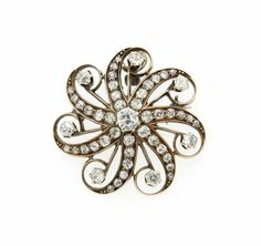 Pendants and Lockets, Diamond, Gold Pendant-Brooch