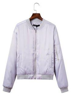Women Casual Pure Color Long Sleeve Zipper Baseball Coat