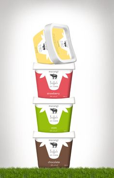 Buffalo Icecream #packaging #butterflycomunicacio                                                                                                                                                     More Yogurt Packaging, Dairy Packaging, Dessert Packaging, Ice Cream Packaging, Milk Packaging, Pouch Packaging, Cool Packaging, Brand Packaging, Ice Cream Logo