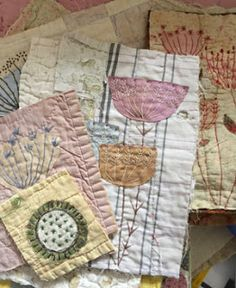 Thread and Thrift: September 2018 Embroidery Art, Embroidery Stitches, Embroidery Patterns, Machine Embroidery, Sewing Art, Sewing Crafts, Sewing Projects, Textile Fiber Art, Textile Artists