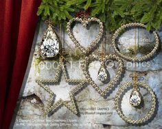 9 Diamond Christmas Tree Ornaments Cliparts in PNG Transparent High Quality Different Sizes