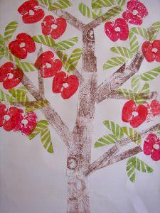 Printed apple trees