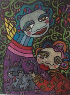 Naive Art : by Karin Dempsey Greenwood. Vibrant Colors, Colours, Different Media, Naive Art, Disney Characters, Fictional Characters, Disney Princess, Vivid Colors, Fantasy Characters
