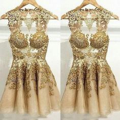 Sexy Short Tulle Prom Dress With Gold Swirls