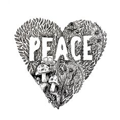 Peace pen and ink drawing by Zoe Sizemore of www.cipdesignstudio.com