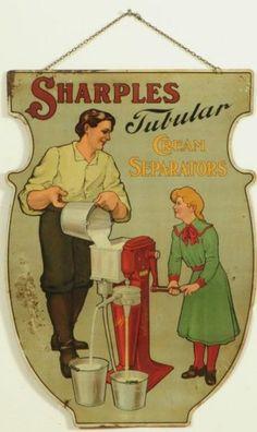 Sharples Cream Separators Litho Tin Sign
