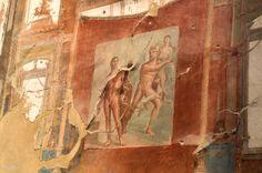 Escena que representa la contienda entre Hércules y el dios río Aqueloo por la mano de Deyanira. Sede de los Agustales. Yacimiento de Herculano. Italia.