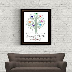 Custom Digital Print - Some of our Greatest Blessings - Grandparents - Grandmother, Grandfather, Grandchildren - Tree with Birds by Analiese on Etsy