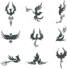 Phoenix bird stylized silhouettes icons on white background. - Tattoos Phoenix bird stylized silhouettes icons on white background. template in the form of a burning flying phoenix. The concept of growth, strength and freedom. Phoenix Tattoo Feminine, Small Phoenix Tattoos, Phoenix Tattoo Design, Small Tattoos, Tattoos For Guys, Rising Phoenix Tattoo, Phoenix Design, Tribal Phoenix Tattoo, Body Art Tattoos