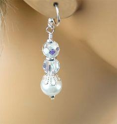 Swarovski Crystal and White Pearl Bridal Earrings