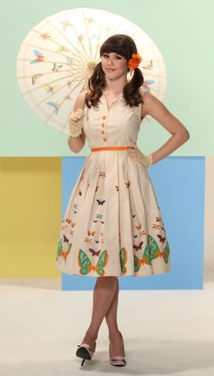 Butterflies Dress | Bettie Page Clothing vintage-style - they also have a matching little-girls dress