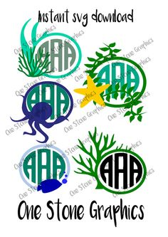 seaweed monogram frame svgsea weed svgoctopus by OneStoneGraphics