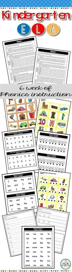 """Kindergarten ELA is a six week complete step by step approach to teaching foundational reading skills. Included in this resource are six weeks of systematic, explicit daily """"scripted lessons"""" that focus on letter naming fluency, first sound fluency, first sound recognition, on-set and rime, phoneme blending, segmenting and blending, rhyming, sight word fluency, and handwriting."""