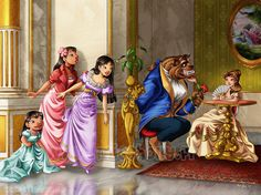 Rendez-vous... Just look... Reallly look! Lilo, Nani and Mulan spying. One of the Muses from Hercules is the table.
