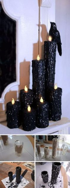 DIY Halloween Creepy Candles. Paper towel rolls, hot glue, battery tea lights, paint, glitter... I can see this tailored for Christmas, New Year's or a dinner party (champagne glitter), Memorial Day (red, white, & blue), a wedding (white)... lots of applications!
