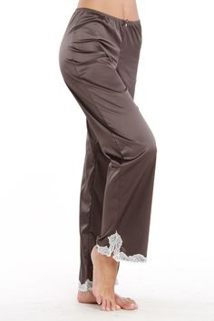 Silky Blush Pajama Pant In Wild Khaki with Lace Trim.