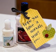 """Hope you have a smooth year"" tag paired with lotion for a first day of school teacher gift idea"