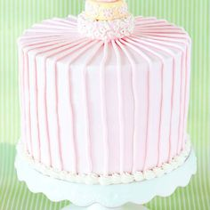 Whimsical Sweet Pink Striped Birthday Cake