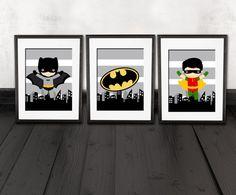 Arte della parete Batman set di 3 stampe di AmysSimpleDesigns
