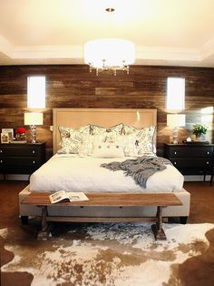 Rustic bedroom with cowhide rug