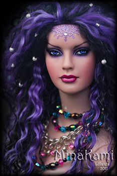 fashion doll, purple hair, Mina Kami by Lisa Gates @ http://www.dazzleemrepaints.com