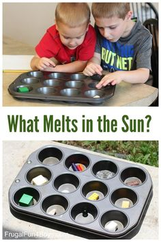 Simple Science Experiment for Kids – What Melts in the Sun? Perfect activity for a hot day! Simple Science Experiment for Kids – What Melts in the Sun? Perfect activity for a hot day! Easy Science Experiments, Science Fair, Science Ideas, Science Chemistry, Kindergarten Science Experiments, Simple Science Projects, Scientific Method Experiments, Science Worksheets, Elementary Science