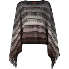 Missoni zig-zag knit fringed poncho ($500) ❤ liked on Polyvore featuring outerwear, poncho, grey, missoni, knit poncho, grey poncho, missoni poncho and fringe poncho