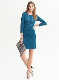 Peacock blue Draped Knit Dress from Banana Republic. #womensfashion2013