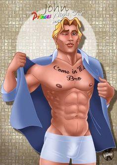 Personagens surgem bem sexy como se estivessem preparando para ir à caça E se os príncipes da disney fossem gays bem animados preparando-se para ir à balada? Essa foi a ideia do artista francês Yan…