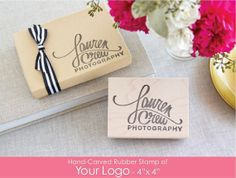 """Hand-Carved Rubber Stamp of Your Logo with Wood Handle 4"""" x 4""""- Large Size Great for Packaging Branding Marketing Materials. $40.95, via Etsy."""