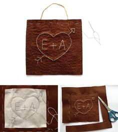 Embroidered faux bois heart in Gifts and favors for weddings, brides and grooms, guests and family