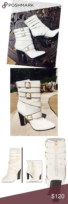"""Calvin Klein Zelda Mid Calf Heel Boot Cream 6.5 Calvin Klein Zelda Mid Calf High Heel Boot is very comfortable and is made of cow hair with leather straps surrounding the outside.  Adorned with gold metal buckle  accents.  Considered cream/creamy white.  Size 6.5, approx 4"""" inches high heel adds style to your look. 3rd photo is stock You can wear Zelda Mid Calf High Heel Boot during winter or summer. The boots are 10.5"""" high. New with a small glue mark by zipper that came that way.barely…"""