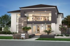 Looking for a Two Storey Home in Perth? Browse our award-winning range of Double Storey New Home Designs To Suit All Block Types, Budgets & Lifestyles. Amazing Architecture, Architecture Design, Town House Plans, Mexican Style Homes, Facade House, House Facades, Storey Homes, Big Houses, Beach House Decor