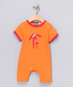 Take a look at this Orange & Red Doggie Romper - Infant  by Eggkids on #zulily today!