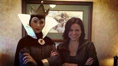 Lana Parrilla [as Regina] & Evil Queen Grimhilde (Cast by Unknown) #OnceUponATime #SnowWhiteAndTheSevenDwarfs