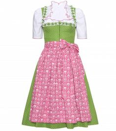 #lanz - mieder ruffled dirndl with gritti ruffled blouse and contrast printed apron