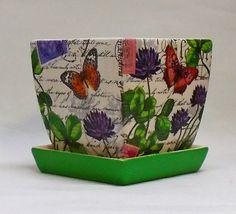 Made To Order Handmade Decoupage Square Ceramic Flower Pot