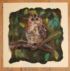 Tawny Owl in tree, lovely felted picture, mounted ready to frame by…