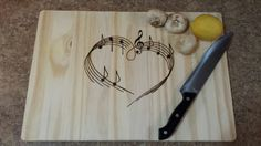 12x18 Custom Made Cutting Board/serving Tray With Musical Heart Image