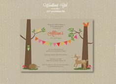 Invitations  Woodland Party  Girl by jaymemarie on Etsy, $15.00