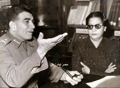 Rare picture Oum Kalthoum with Egyptian President General Muhammad Naguib