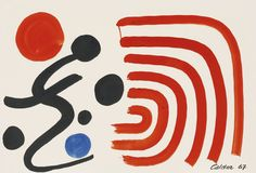 Alexander Calder /SHOCK WAVES, 1967 gouache and ink on paper74.6 by 109.5 cm.