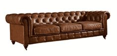 Crafters And Weavers Top Grain Vintage Leather Chesterfield Sofa - Home Furniture Design Chesterfield Living Room, Leather Chesterfield, Chesterfield Sofas, Leather Sectional, Brown Leather Furniture, Leather Living Room Furniture, Masculine Living Rooms, Brown And Blue Living Room, Italian Leather Sofa