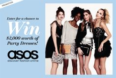 Party dresses for every occasion! Enter here for a chance to win an ASOS shopping spree—worth 2,000 dollars! NO PURCHASE NECESSARY. ASOS is stocked with all the holiday party essentials: glittery clutches, bright heels and most importantly, an endless array of dresses. Which means winning 2,000 dollars to spend there basically guarantees you'll have something amazing to wear on New Year's. #BestNightEver