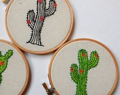 Embroidery hoop green cactus with yellow flowers felt by oktak