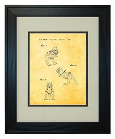 star wars tauntaun patent art golden look print in a solid pine wood frame with a