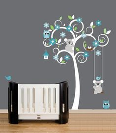Vinyl Wall Decal - White Swirl Tree Decals Bear - Owl Turquoise Teal Grey Owls Egg Home House Wall Baby Bedroom Sticker Stickers Kids 886