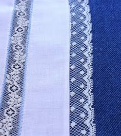 Sewing lace edging to fabric is easy and very pretty!       Lace edging has one scalloped edge and one straight edge.      A contrasting co...