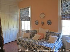 Love the peach added to the blue and white Peach Rooms, Blue Rooms, White Bedroom, Master Bathroom, Home Remodeling, Valance Curtains, Blue And White, Spaces, Dark