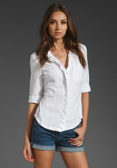 JAMES PERSE Contrast Panel Jewel Neck Shirt in White at Revolve Clothing - worn by Pepper Potts in the Avengers
